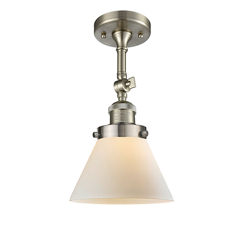 Innovations Lighting Large Cone Brushed Satin Nickel 14-Inch LED Semi Flush Mount with Matte White Cased Cone Glass