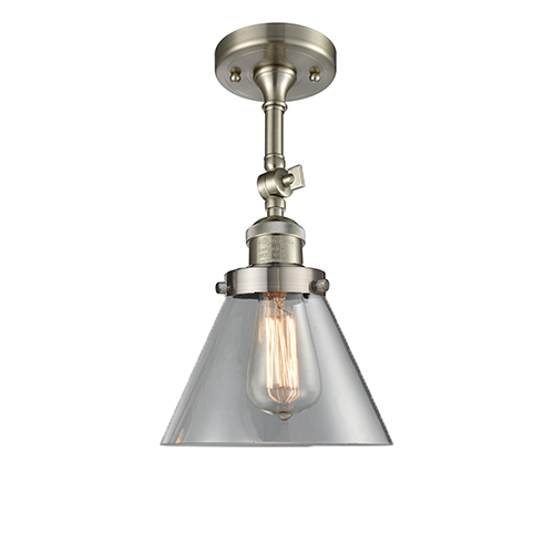 Large Cone Brushed Satin Nickel 14-Inch One-Light Semi Flush Mount with Clear Cone Glass