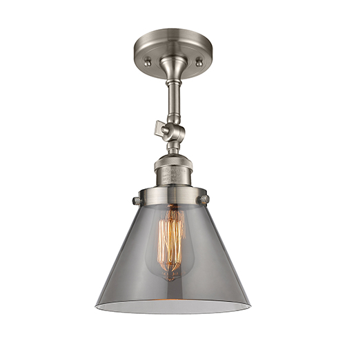 Large Cone Brushed Satin Nickel 14-Inch One-Light Semi Flush Mount with Smoked Cone Glass