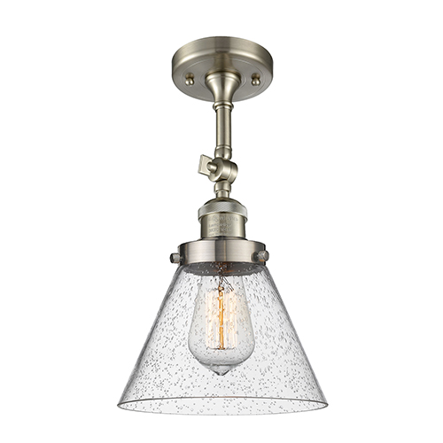 Large Cone Brushed Satin Nickel 14-Inch One-Light Semi Flush Mount with Seedy Cone Glass