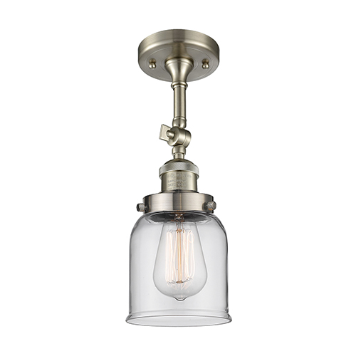 Innovations Lighting Small Bell Brushed Satin Nickel 14-Inch LED Semi Flush Mount with Clear Bell Glass