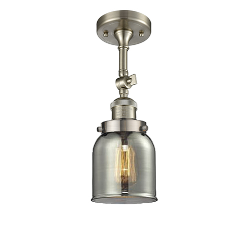 Innovations Lighting Small Bell Brushed Satin Nickel 14-Inch LED Semi Flush Mount with Smoked Bell Glass
