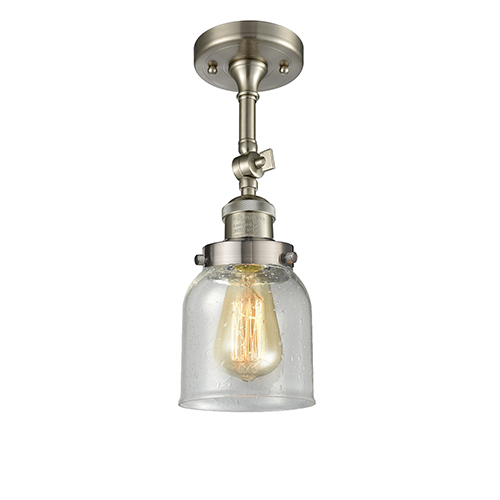 Innovations Lighting Small Bell Brushed Satin Nickel 14-Inch One-Light Semi Flush Mount with Seedy Bell Glass
