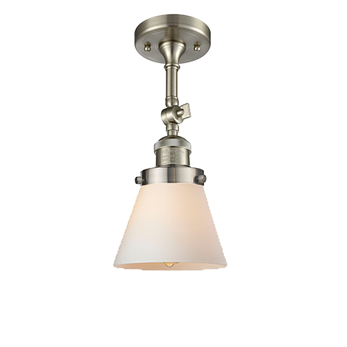 Innovations Lighting Small Cone Brushed Satin Nickel Six-Inch LED Semi Flush Mount with Matte White Cased Cone Glass