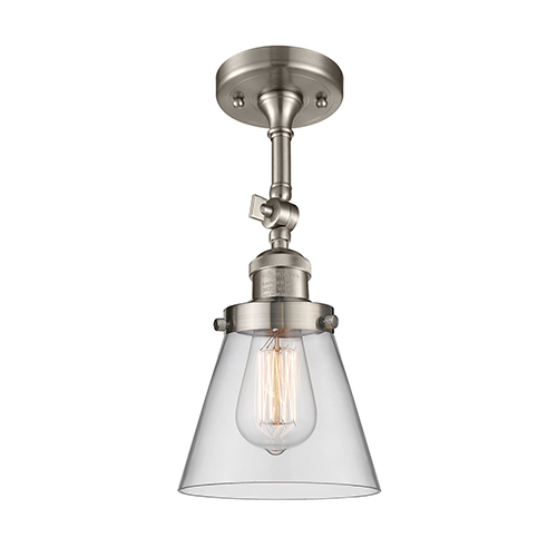 Small Cone Brushed Satin Nickel Six-Inch One-Light Semi Flush Mount with Clear Cone Glass