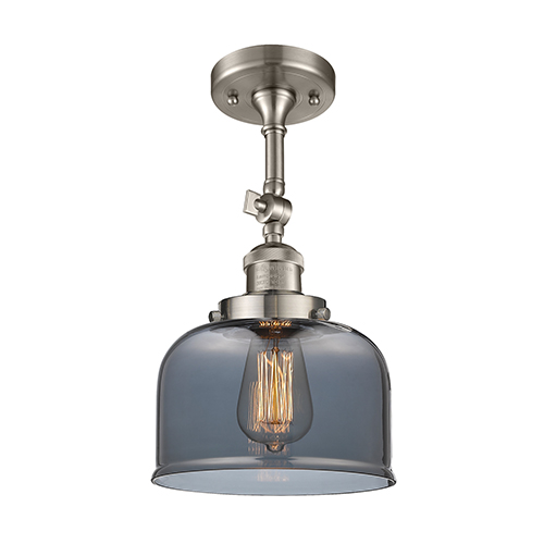 Innovations Lighting Large Bell Brushed Satin Nickel 14-Inch One-Light Semi Flush Mount with Smoked Dome Glass