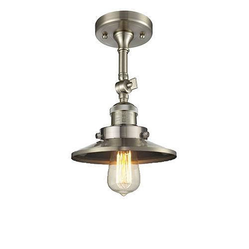 Innovations Lighting Railroad Brushed Satin Nickel Eight-Inch LED Semi Flush Mount