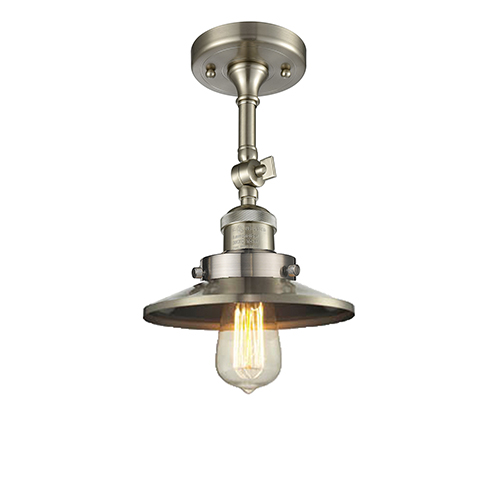 Innovations Lighting Railroad Brushed Satin Nickel Eight-Inch One-Light Semi Flush Mount