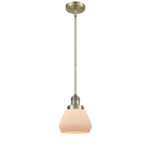 Fulton Antique Brass 3.5W LED Hang Straight Swivel Mini Pendant with Matte White Cased Glass
