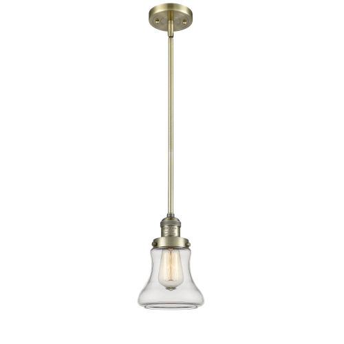 Bellmont Antique Brass Seven-Inch One-Light Mini Pendant with Clear Glass