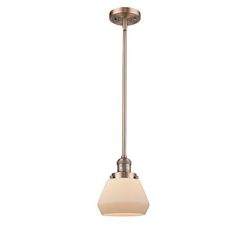 Innovations Lighting Fulton Antique Copper Nine-Inch LED Mini Pendant with Matte White Cased Sphere Glass