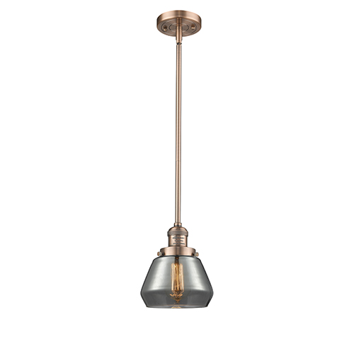 Fulton Antique Copper Nine-Inch LED Mini Pendant with Smoked Sphere Glass