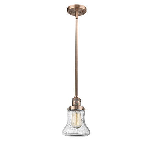Innovations Lighting Bellmont Antique Copper 10-Inch One-Light Mini Pendant with Seedy Hourglass Glass