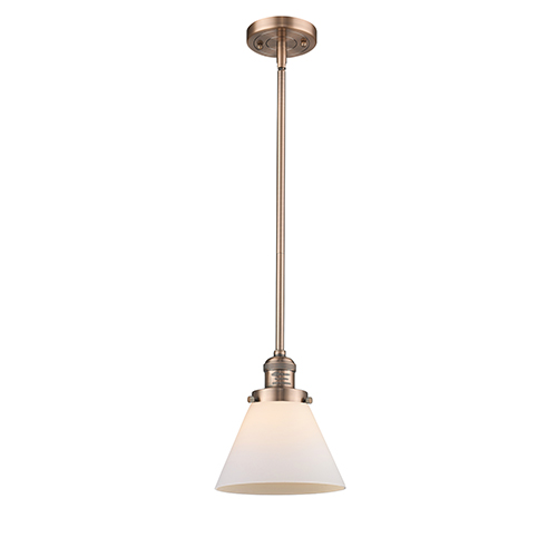 Innovations Lighting Large Cone Antique Copper 10-Inch LED Mini Pendant with Matte White Cased Cone Glass