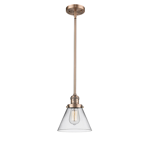 Large Cone Antique Copper 10-Inch One-Light Mini Pendant with Clear Cone Glass