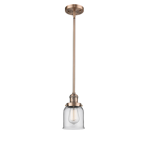 Innovations Lighting Small Bell Antique Copper 10-Inch LED Mini Pendant with Clear Bell Glass