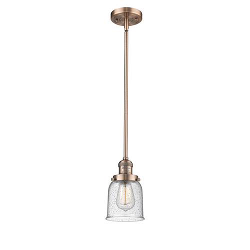 Innovations Lighting Small Bell Antique Copper 10-Inch LED Mini Pendant with Seedy Bell Glass