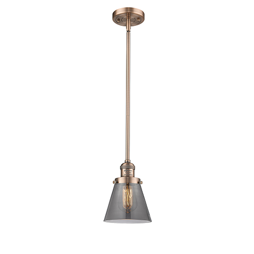 Innovations Lighting Small Cone Antique Copper Eight-Inch LED Mini Pendant with Smoked Cone Glass