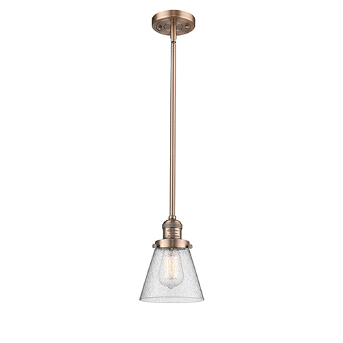 Innovations Lighting Small Cone Antique Copper Eight-Inch One-Light Mini Pendant with Seedy Cone Glass