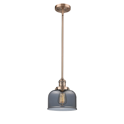 Innovations Lighting Large Bell Antique Copper 10-Inch LED Mini Pendant with Smoked Dome Glass