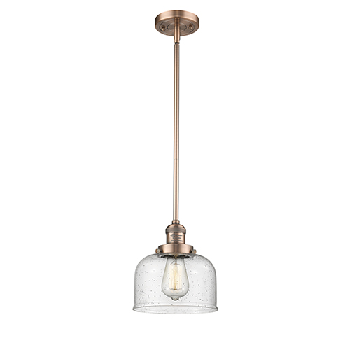Innovations Lighting Large Bell Antique Copper 10-Inch One-Light Mini Pendant with Seedy Dome Glass