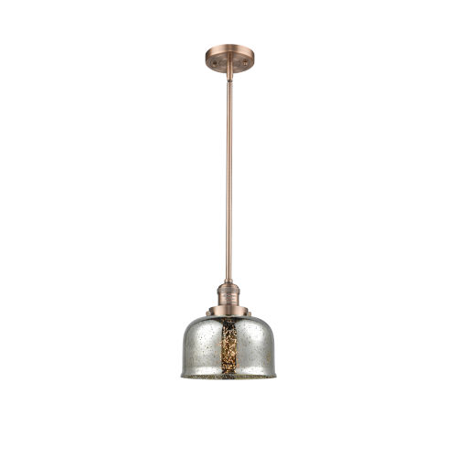 Large Bell Antique Copper LED Hang Straight Swivel Mini Pendant with Silver Plated Mercury Glass