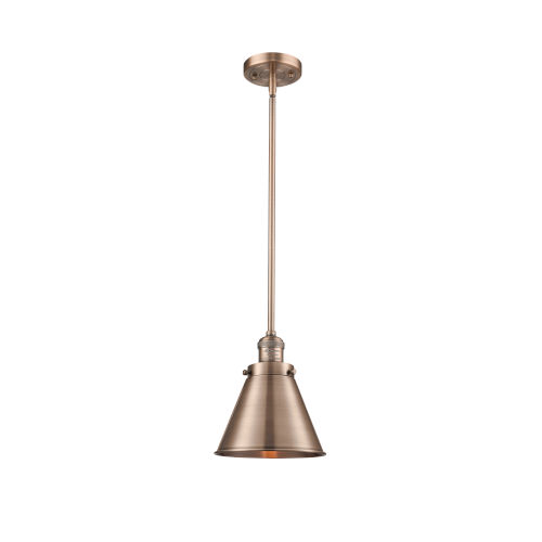 Franklin Restoration Antique Copper Eight-Inch One-Light Mini Pendant with Appalachian Antique Copper Metal Shade