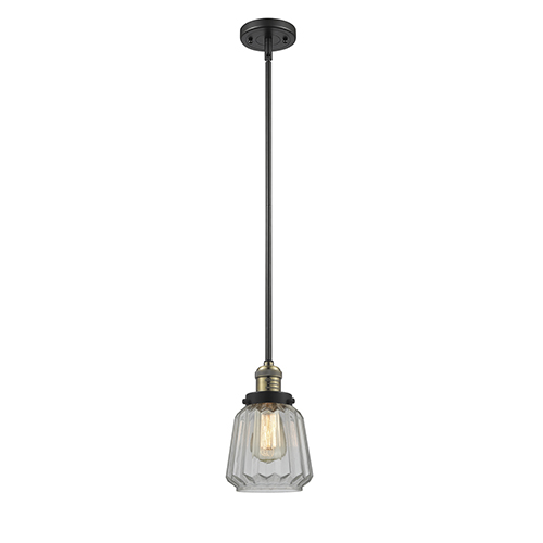 Innovations Lighting Chatham Black Antique Brass Eight-Inch LED Mini Pendant with Clear Fluted Novelty Glass