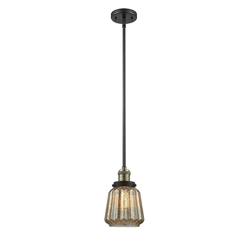 Innovations Lighting Chatham Black Antique Brass Eight-Inch One-Light Mini Pendant with Mercury Fluted Novelty Glass