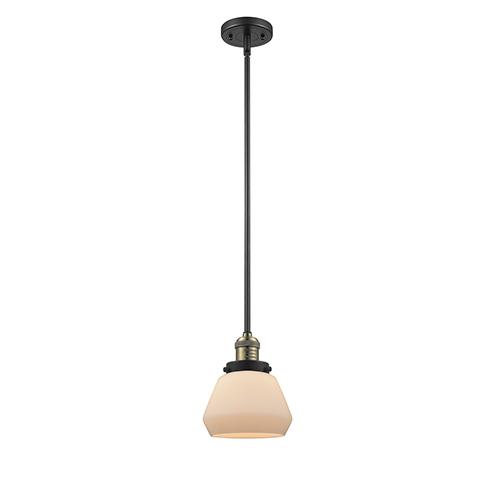 Innovations Lighting Fulton Black Antique Brass Nine-Inch LED Mini Pendant with Matte White Cased Sphere Glass