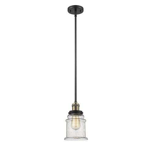 Canton Black Antique Brass 10-Inch LED Mini Pendant with Seedy Bell Glass