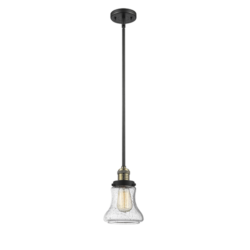 Innovations Lighting Bellmont Black Antique Brass 10-Inch One-Light Mini Pendant with Seedy Hourglass Glass