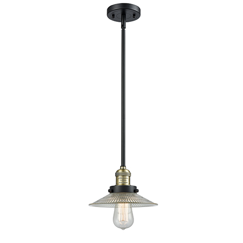 Innovations Lighting Halophane Black Antique Brass Eight-Inch One-Light Mini Pendant with Halophane Cone Glass