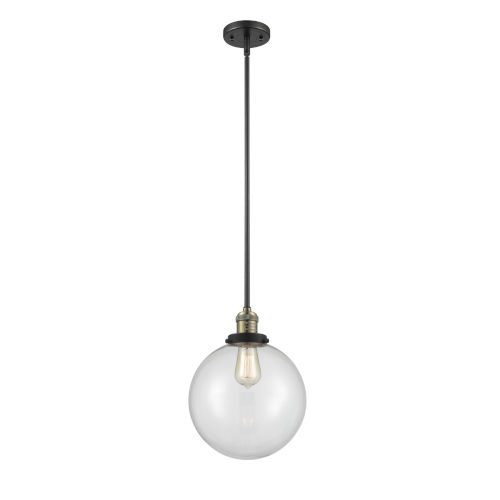 Franklin Restoration Black Antique Brass 10-Inch LED Pendant with Clear Glass Shade