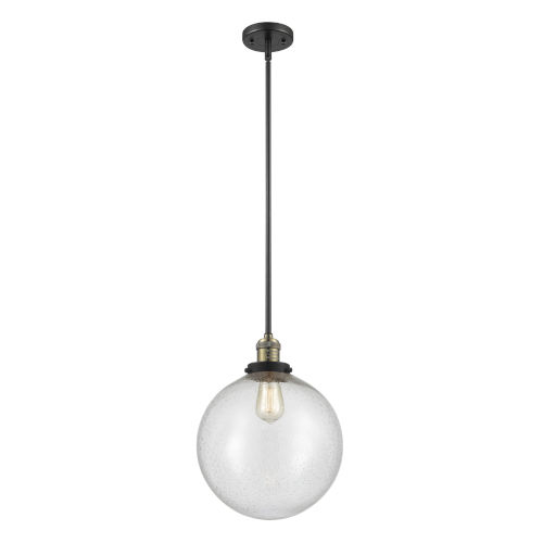 Franklin Restoration Black Antique Brass 12-Inch LED Pendant with Seedy Beacon Shade