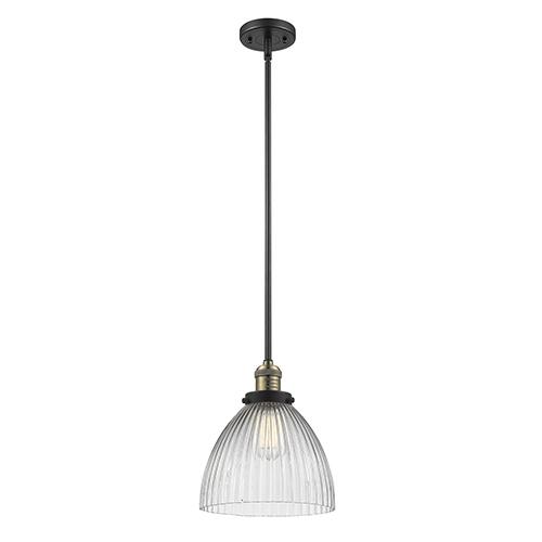 Innovations Lighting Seneca Falls Black Antique Brass 10-Inch LED Mini Pendant with Halophane Dome Glass