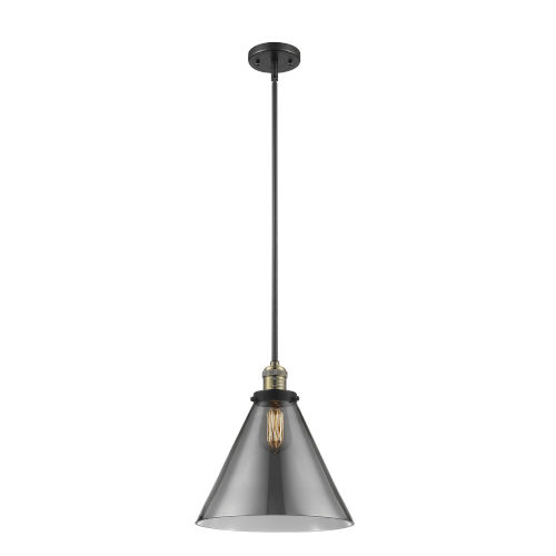 X-Large Cone Black Antique Brass One-Light Hang Straight Swivel Pendant