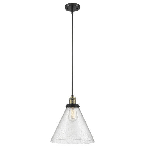 X-Large Cone Black Antique Brass LED Hang Straight Swivel Pendant with Seedy Glass