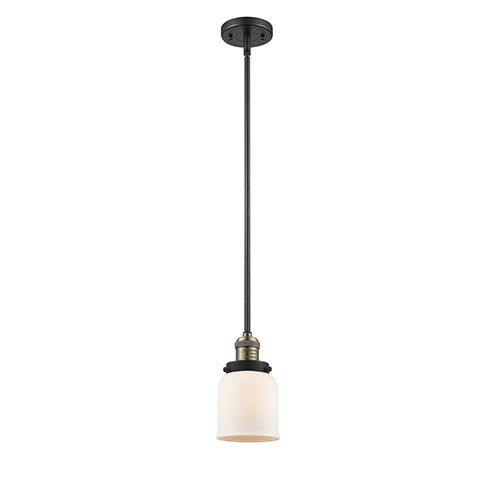 Small Bell Black Antique Brass 10-Inch One-Light Mini Pendant with Matte White Cased Bell Glass