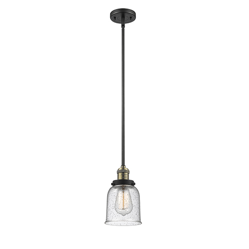 Innovations Lighting Small Bell Black Antique Brass 10-Inch LED Mini Pendant with Seedy Bell Glass