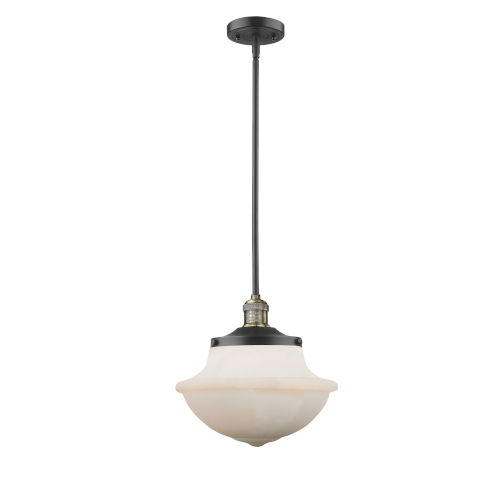 Franklin Restoration Black Antique Brass 12-Inch One-Light Pendant with Matte White Cased Large Oxford Shade
