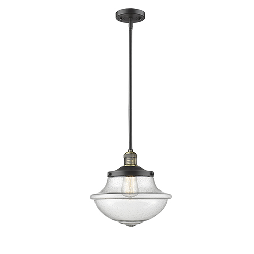 Innovations Lighting Oxford School House Black Antique Brass LED Pendant with Seedy Bell Glass