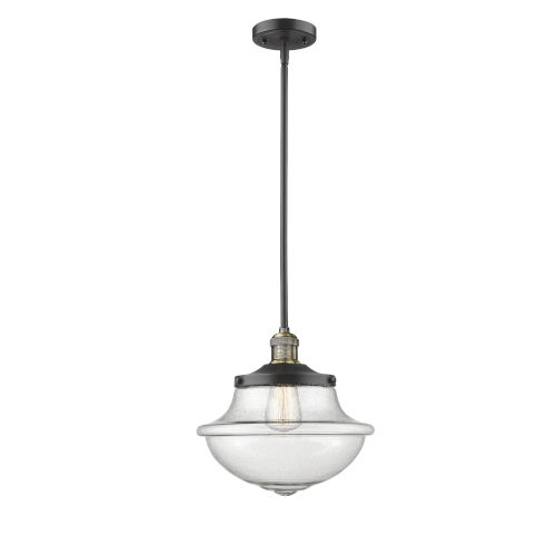 Franklin Restoration Black Antique Brass 12-Inch One-Light Pendant with Seedy Large Oxford Shade