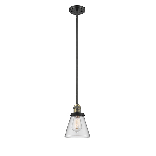 Innovations Lighting Small Cone Black Antique Brass Eight-Inch One-Light Mini Pendant with Clear Cone Glass