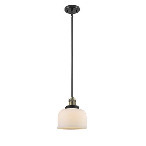 Large Bell Black Antique Brass 10-Inch One-Light Mini Pendant with Matte White Cased Dome Glass