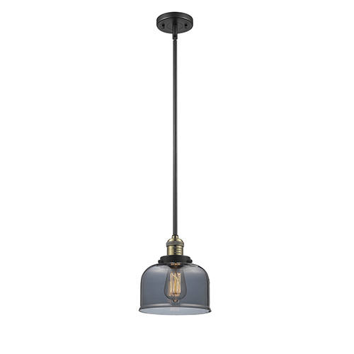 Large Bell Black Antique Brass 10-Inch One-Light Mini Pendant with Smoked Dome Glass