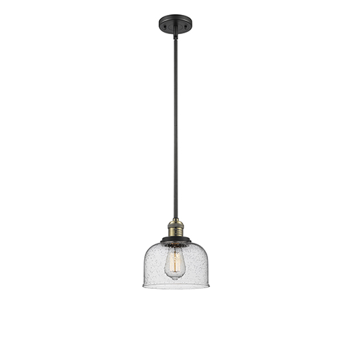 Innovations Lighting Large Bell Black Antique Brass LED Mini Pendant with Seedy Dome Glass