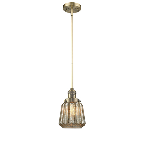 Innovations Lighting Chatham Brushed Brass Eight-Inch One-Light Mini Pendant with Mercury Fluted Novelty Glass