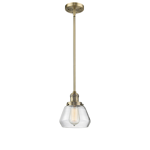 Innovations Lighting Fulton Brushed Brass Nine-Inch One-Light Mini Pendant with Clear Sphere Glass