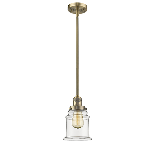 Innovations Lighting Canton Brushed Brass 10-Inch One-Light Mini Pendant with Clear Bell Glass